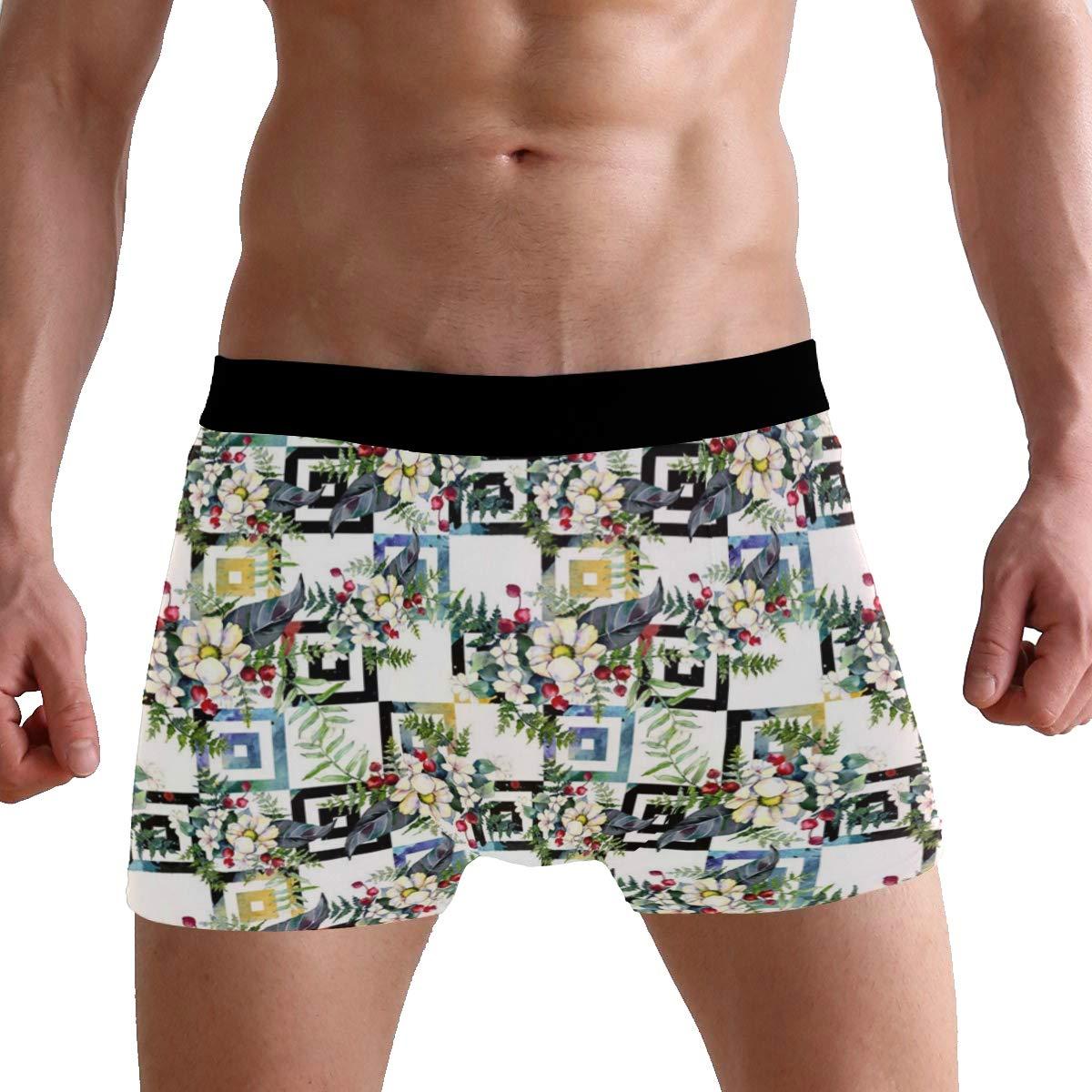 CATSDER Beautiful Flower Pattern Boxer Briefs Mens Underwear Pack Seamless Comfort Soft