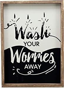 Paris Loft Rustic Laundry Room Wall Decor Signs-Wash Your Worries Away Vintage Laundry Wooden Sign Plaque
