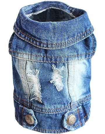 c3f5eb05e330 SILD Pet Clothes Dog Jeans Jacket Cool Blue Denim Coat Small Medium Dogs  Lapel Vests Classic