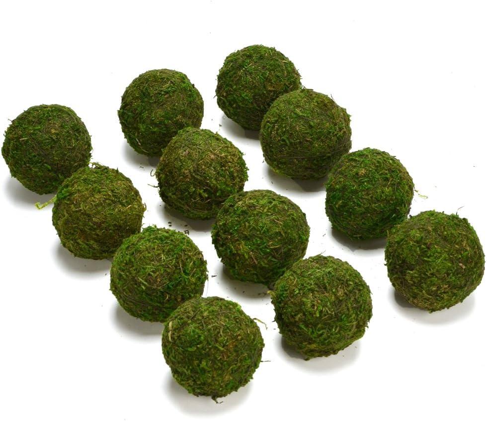 """Byher Natural Green Moss Decorative Ball,Handmade (2""""-Set of 12)"""