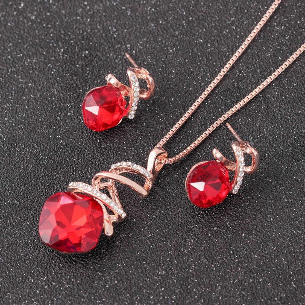 Leekkoka Collar colgante Pendientes De Diamantes Calados Conjunto De Collar Colgante De Piedras Preciosas Cuadradas Accesorios De Boda Nupcial