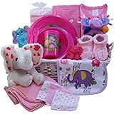 Art of Appreciation Gift Baskets Ellie The Elephant New Baby Gift Basket, Girl