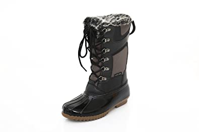 Womens Winter Snow Boots Tall - Insulated Lace-Up Closure Comfortable  Weatherproof Brown 1013b6778afb