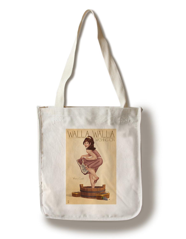 ワインCrushing Pinup Girl – ワラワラ、ワシントン州 Canvas Tote Bag LANT-46976-TT Canvas Tote Bag  B01841IAM6