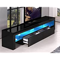 TV Cabinet White or Black Entertainment Unit Stand Gloss LED Lowline Shelf TV12 (Black with Light)