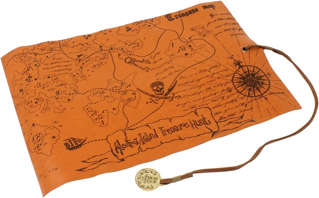 Nautical Cove Pirate Treasure Map PVC Leather with Detailed Map Features