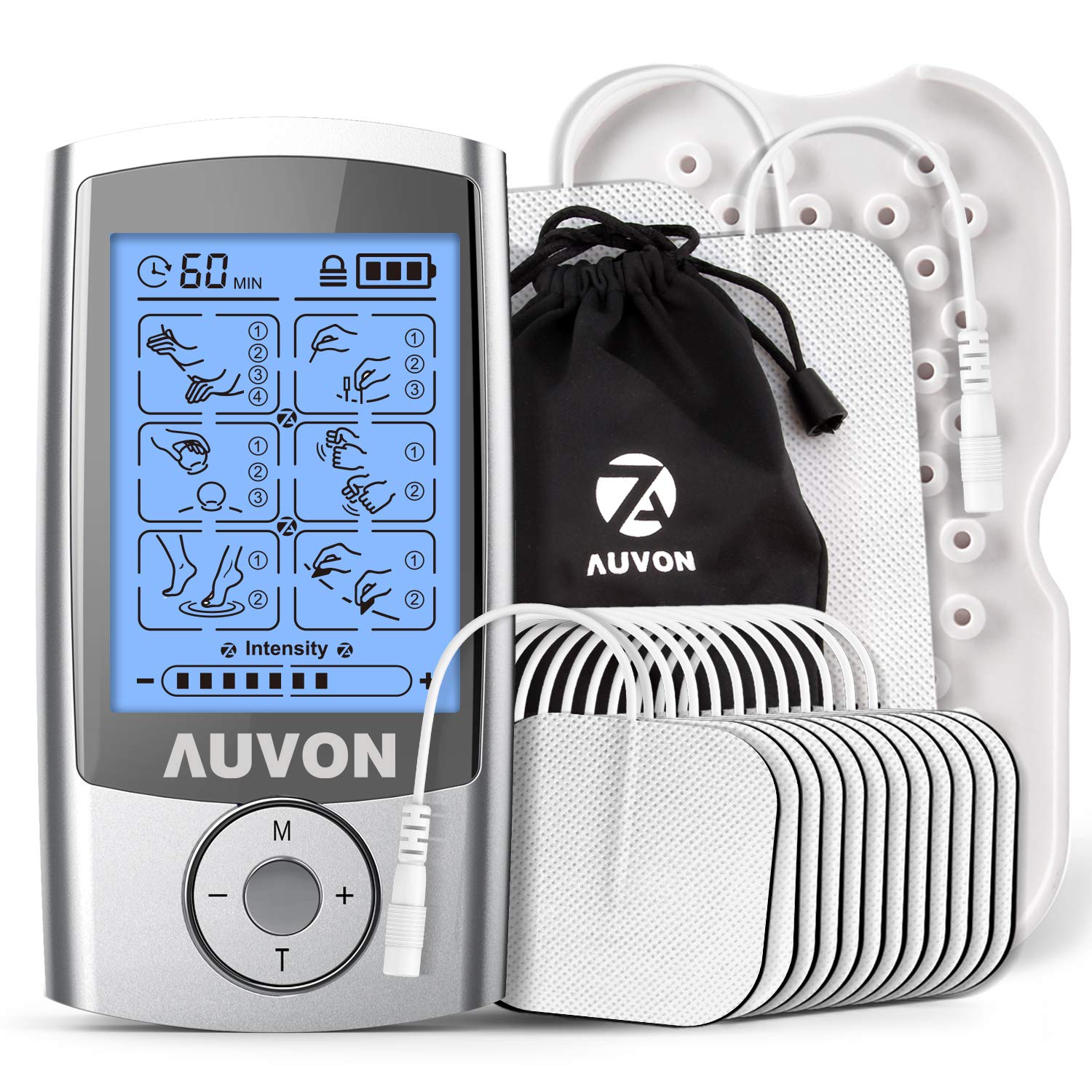 AUVON Rechargeable TENS Unit Muscle Stimulator, 2nd Gen16 Modes TENS Machine with Upgraded Self-Adhesive Reusable TENS Electrodes Pads (2''x2'' 12pcs, 2''x4'' 2pcs)