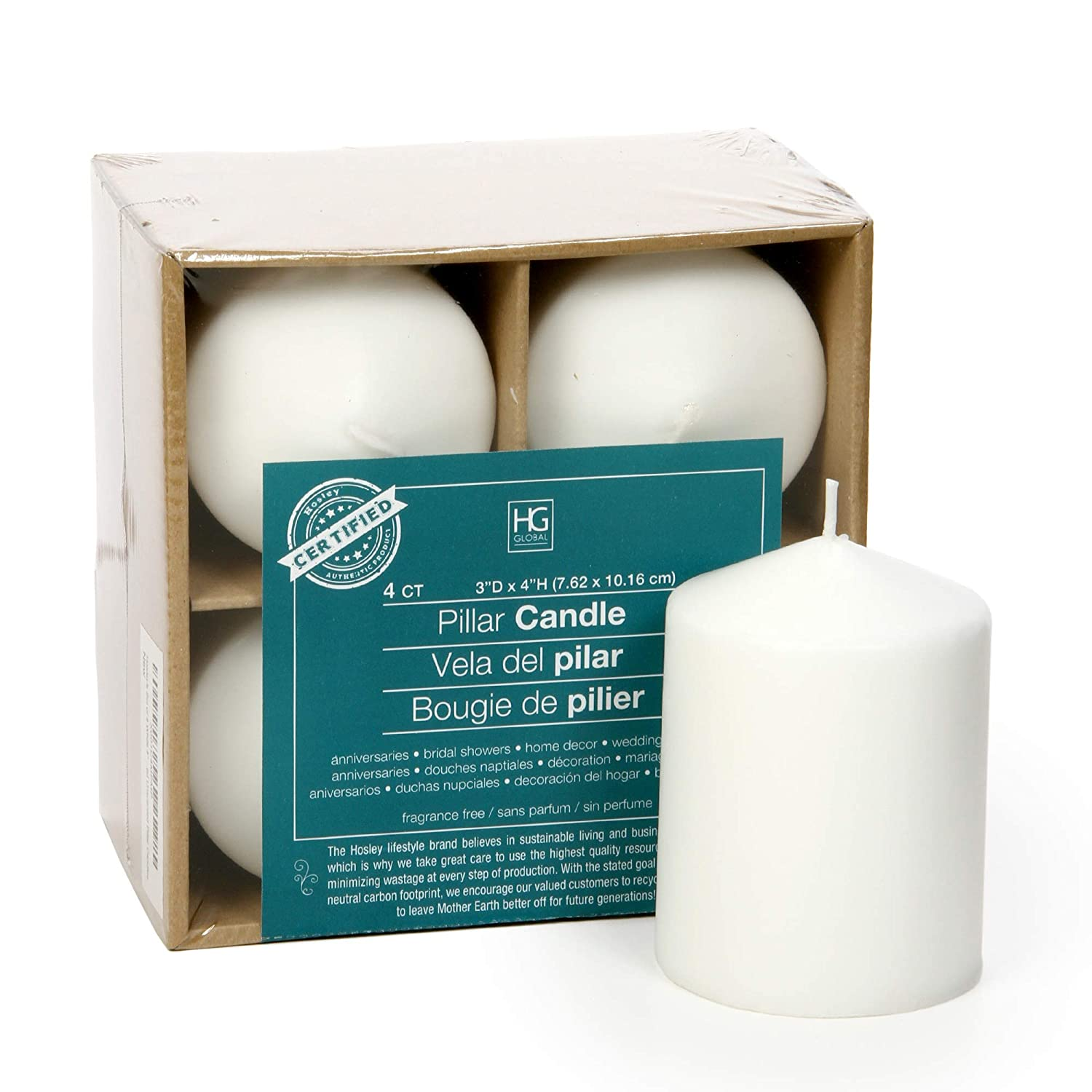 Hosley's Set of 4 White 4 High Unscented Pillar Candles. Bulk Buy Wax Blend. Ideal for Wedding, Emergency Lanterns, Spa, Aromatherapy, Party, Reiki, Candle Gardens O3 HG GLOBAL