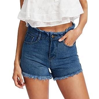 Damen Shorts,Sannysis Frauen Blau Denim Jeans Solide Casual Loch Sommerknopf Mini Hot Shorts Beiläufige Lose Shorts Strand Mä