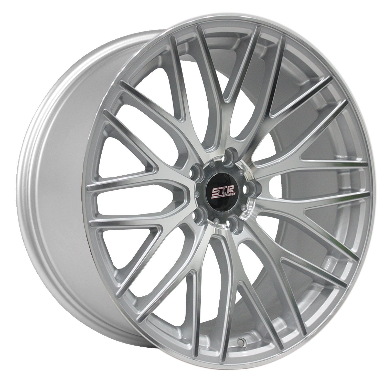 STR RACING STR615 Silver Wheel with Painted Finish and Machine Face (19 x 9.5 inches /5 x 114 mm, 40 mm Offset)