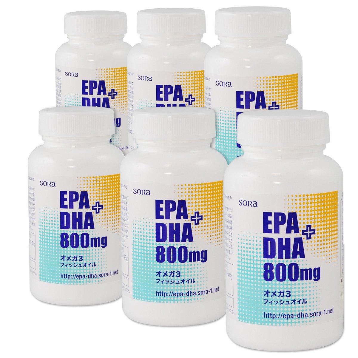 【6個セット10%OFF】そら EPA+DHA 800mg (魚のオイル オメガ3 120粒入 x 6個) B01L6BPC04