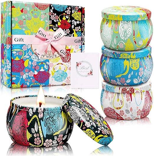 MMTX Velas Perfumadas Regalo(Pack Regalo 4),Velas Aromaticas,Soja ...