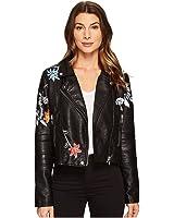 MUXU Autumn Women black embroidery jacket Style Short Coat pu Leather Jacket  Coat Female long sleeve