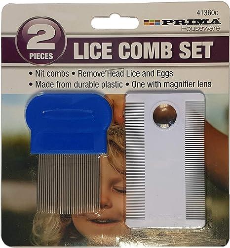 Peine para piojos de cabeza fina de metal para detección de dientes y eliminar el pelo, juego de 2 unidades