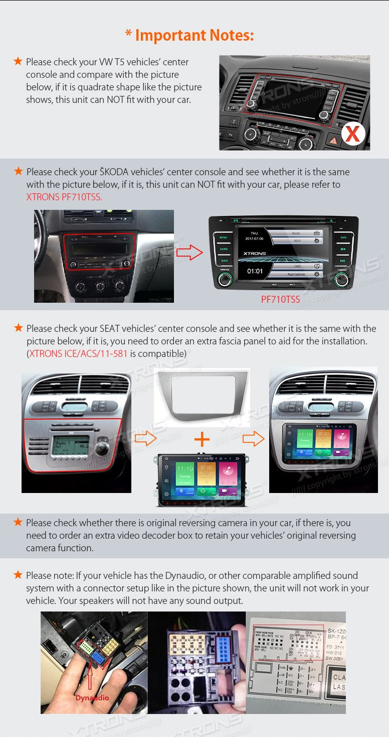 XTRONS Android 6.0 Octa-Core 9 Inch Capacitive Touch Screen Car Stereo Radio DVD Player Screen Mirroring Function OBD2 Tire Pressure Monitoring for VW Caddy Golf 2003-2013 Reversing Camera Included by XTRONS (Image #4)