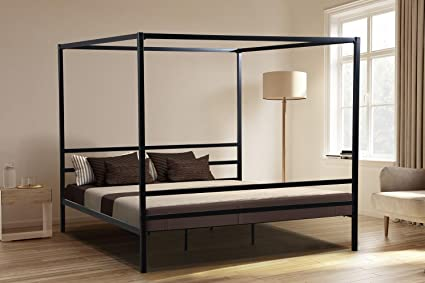 Oliver Smith - Modern Heavy Duty Black Iron Metal Platform Canopy Bed with Slats/No & Amazon.com: Oliver Smith - Modern Heavy Duty Black Iron Metal ...