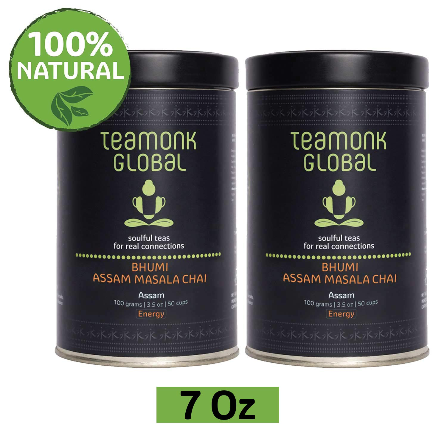 Bhumi Assam Masala Chai | 100% Natural Whole Leaf Tea | Natural Ingredients: Cinnamon, Clove, Cardamon, Ginger | Relax & Refresh | No Additives - 3.5oz (50 Cups) Teamonk Global