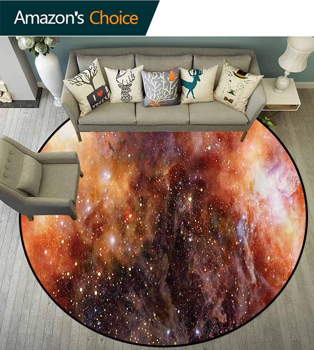 RUGSMAT Outer Space Art Deco Pattern Non-Slip Backing Washable Round Area Rug,Nebula Gas Cloud in Deep Outer Space Galaxy Expanse Milky Way Print Foam Mat Bedroom Decor,Round-63 Inch by RUGSMAT (Image #2)