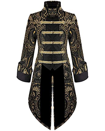 Herren Schwarz Gold Frack Mantel Devil Fashion Gothic Jacke rxWCedBo