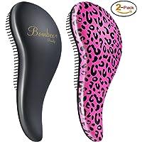 Bombex Deluxe Detangling Hair Brush 2-Pack (Pink Leopard/Matte Black)