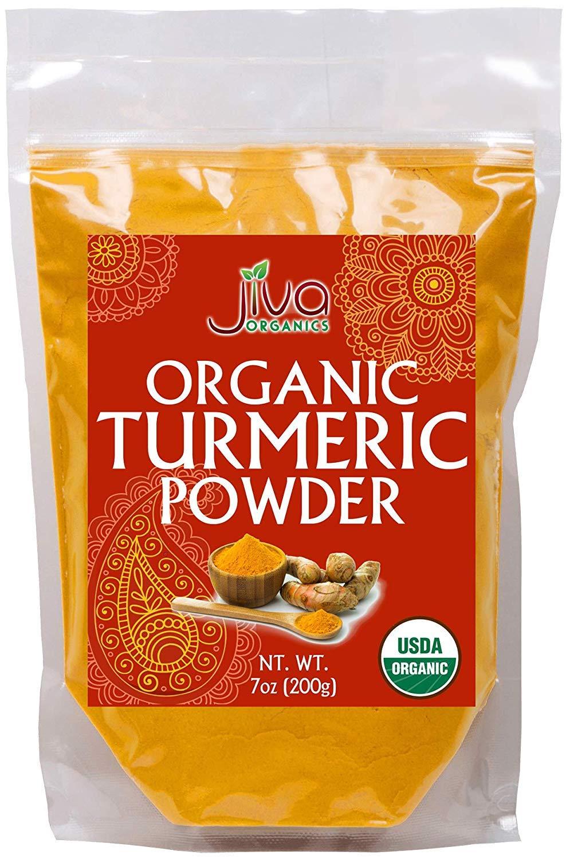 Jiva USDA Organic Turmeric Powder (Curcumin) 7oz - Packaged in Resealable Bag