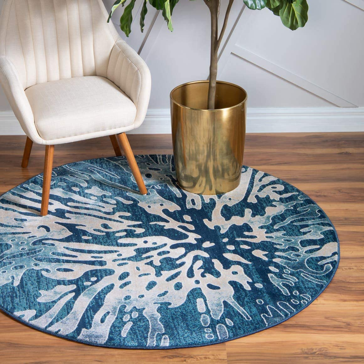 Unique Loom Mystic Collection Abstract Vintage Water Navy Blue Round Rug 5 0 x 5 0