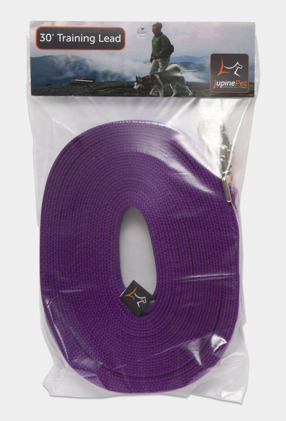LupinePet Basics 3/4'' Purple 30-foot Extra-Long Training Lead/Leash for Medium and Larger Dogs