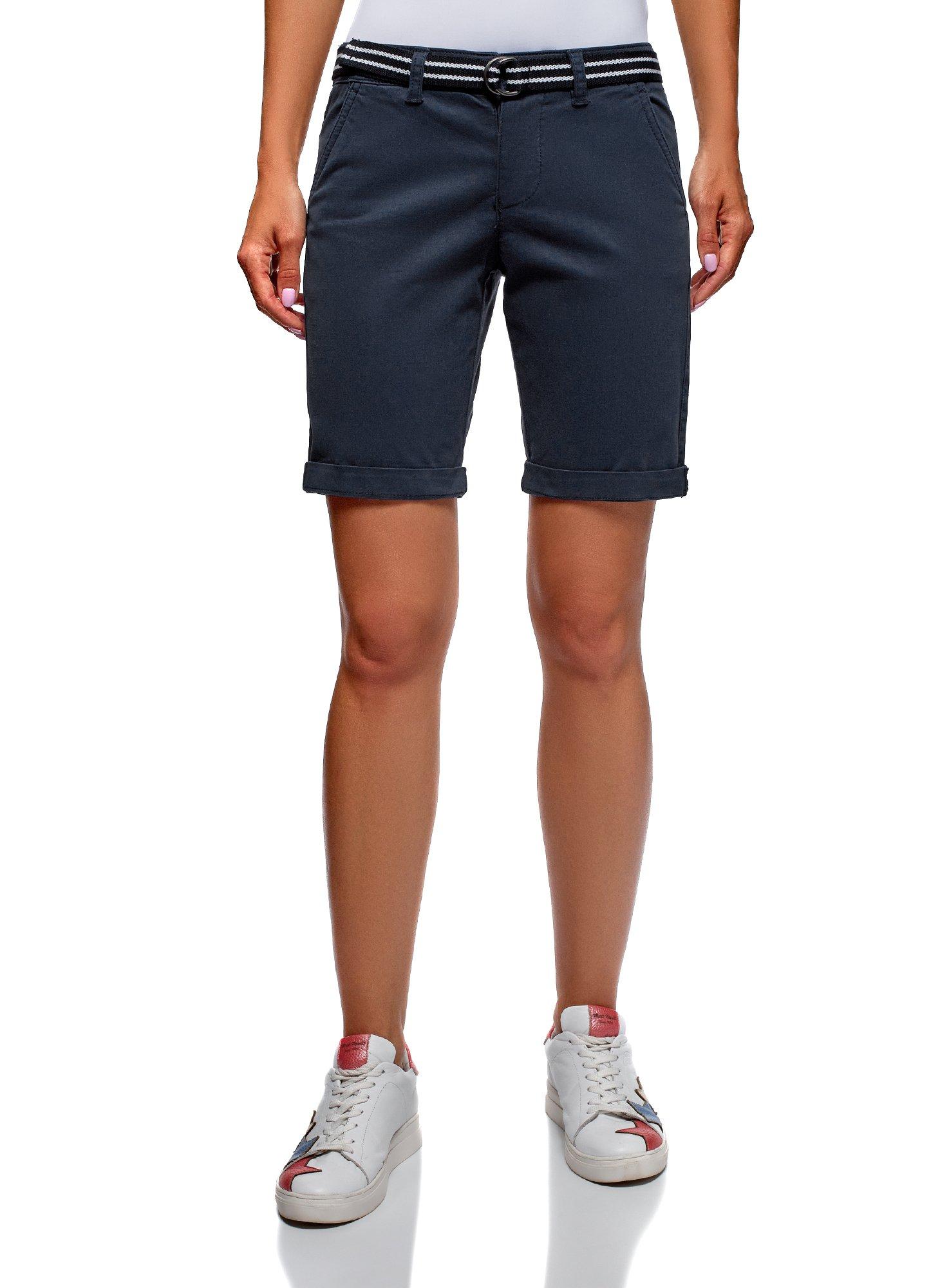 oodji Ultra Women's Belted Cotton Shorts, Blue, 4