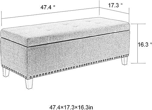 Adeco Ottoman Bench with Storage Classic Rectangular – Large Slate