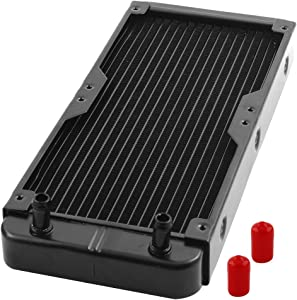 uxcell Aluminum Computer CPU 18 Pipes Water Cooling Heat Exchanger Radiator 270mm Long Black