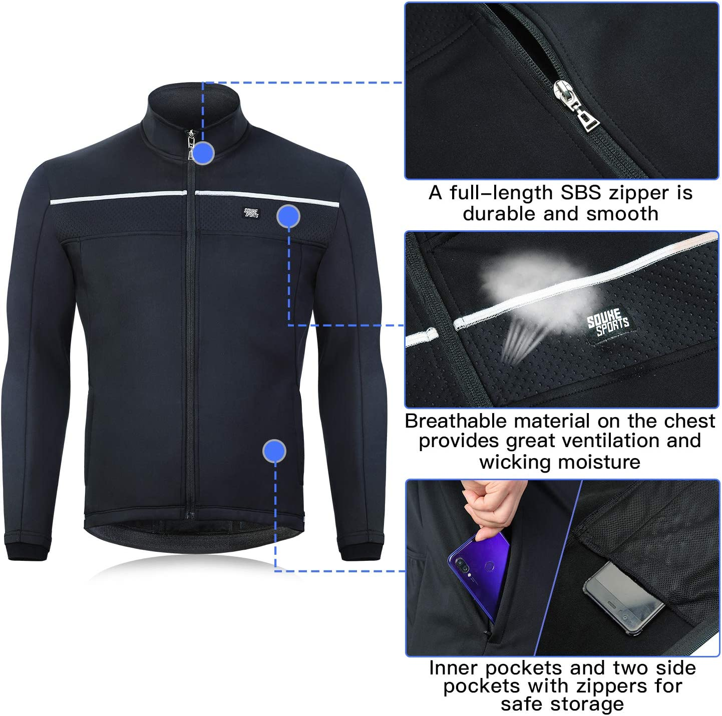 Souke Sports Men/'s Winter Cycling Jacket Warm Windproof Running Water Resistant Thermal Breathable Softshell Windbreaker Reflective for Bike Riding