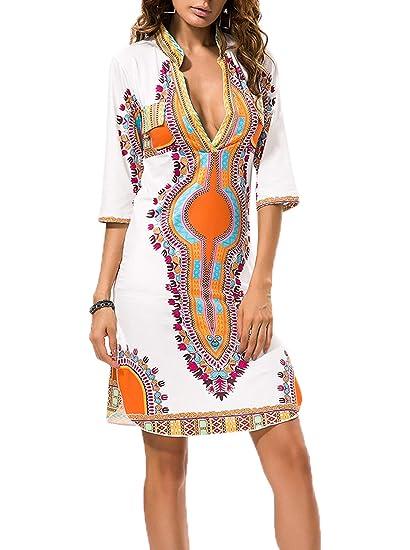 Autunno Primavera Africano Vestiti Donne Bohemian Etnico Floreali Corto Abito  da Spiaggia Moda V Collo Mezza Manica Vestito a Tubino Sottile Abiti da ... 29c72f4a7de
