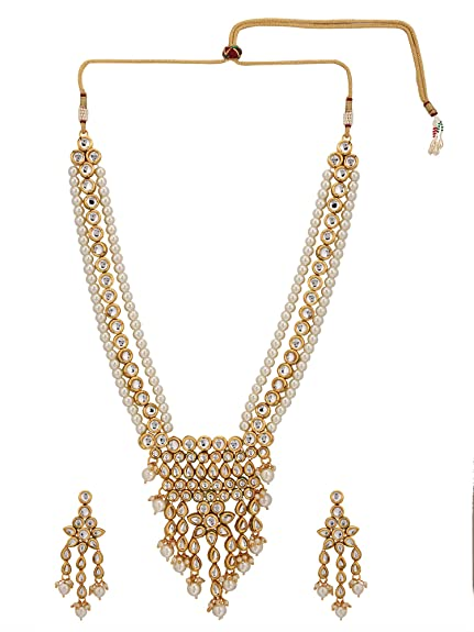 d20512d220e Archi Collection White Gold Plated Rhinestone Crystal Pearl Kundan Multi  Layer Strand Necklace Earrings Jewellery Set