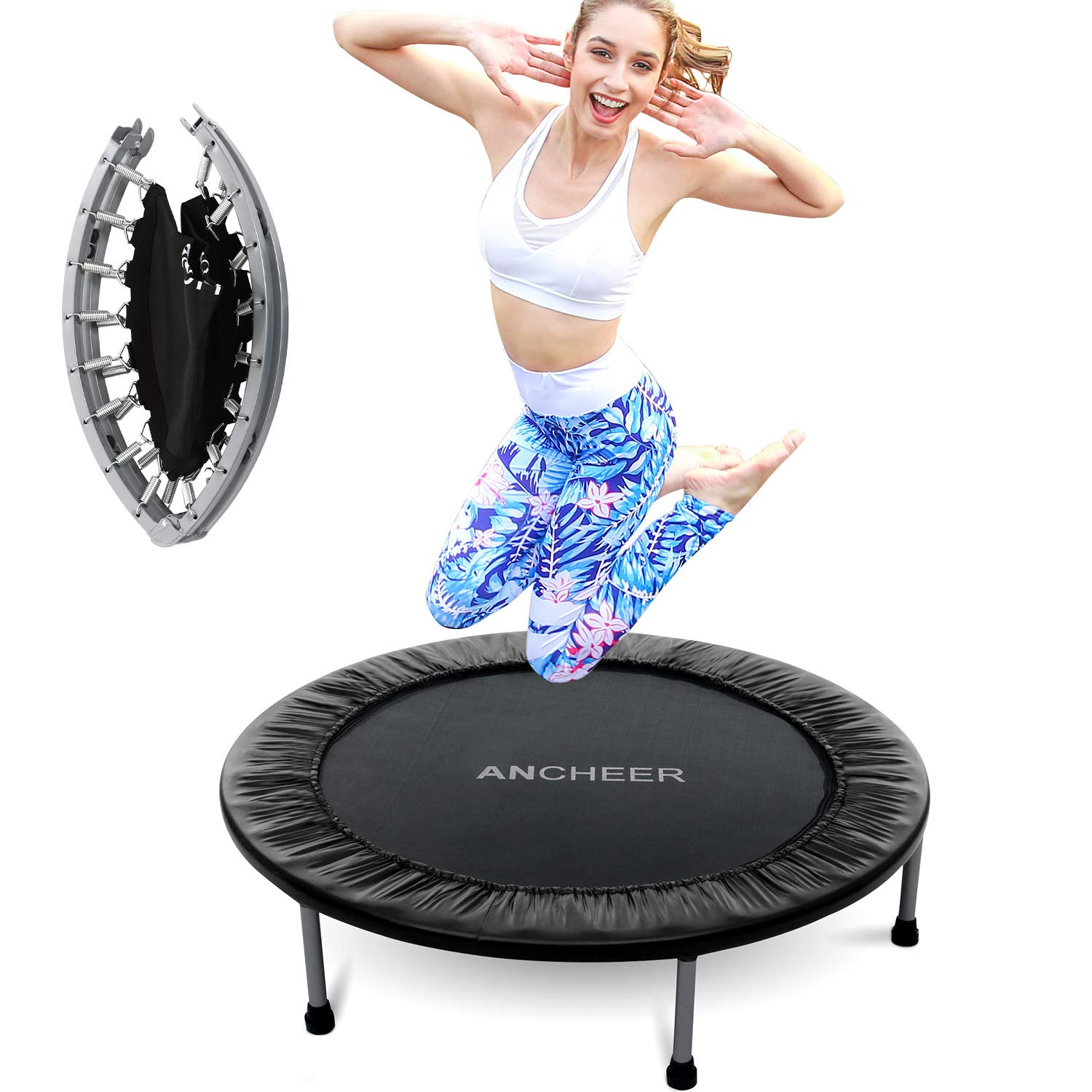 ANCHEER 38-40Inch Foldable Mini Trampoline Rebounder, Quiet and Safe Bounce Spring Mini Bouncer Fitness Trampoline Rebounder for Kids Adults in Home/Garden/Office Cardio Trainer