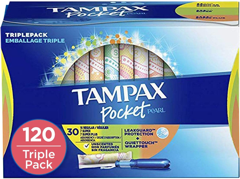 Tampax Pocket Pearl Plastic Tampons, Regular/Super/Super Plus Absorbency Triplepack