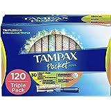 Tampax Pocket Pearl Plastic Tampons, Regular/Super/Super Plus Absorbency Triplepack, 120 Count, Unscented (30 Count…