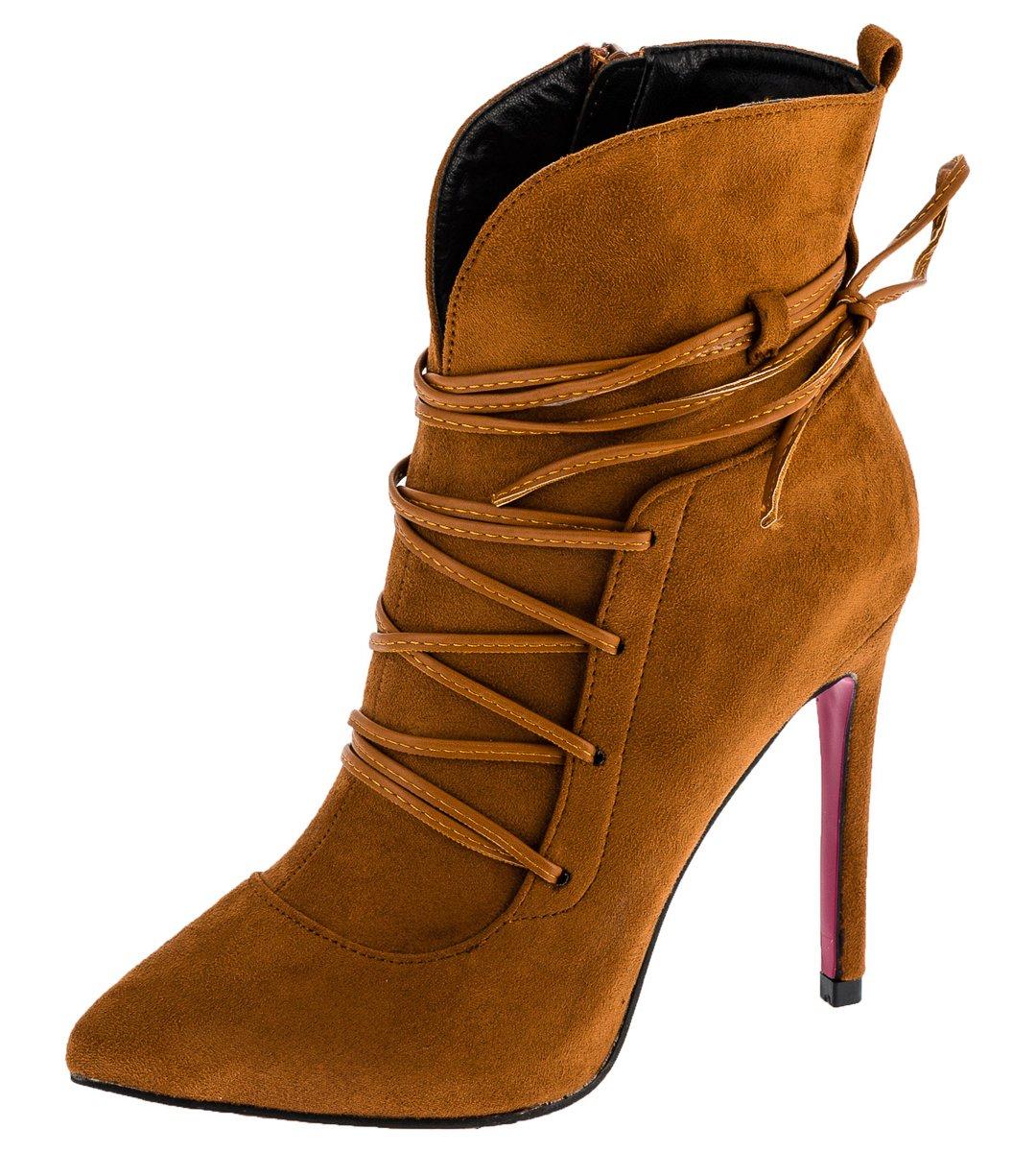 Shayenne Damen Stiefeletten Stiletto Stiefel High Heels Kurzschaft Boots Pumps Schuhe  35 EU|Braun