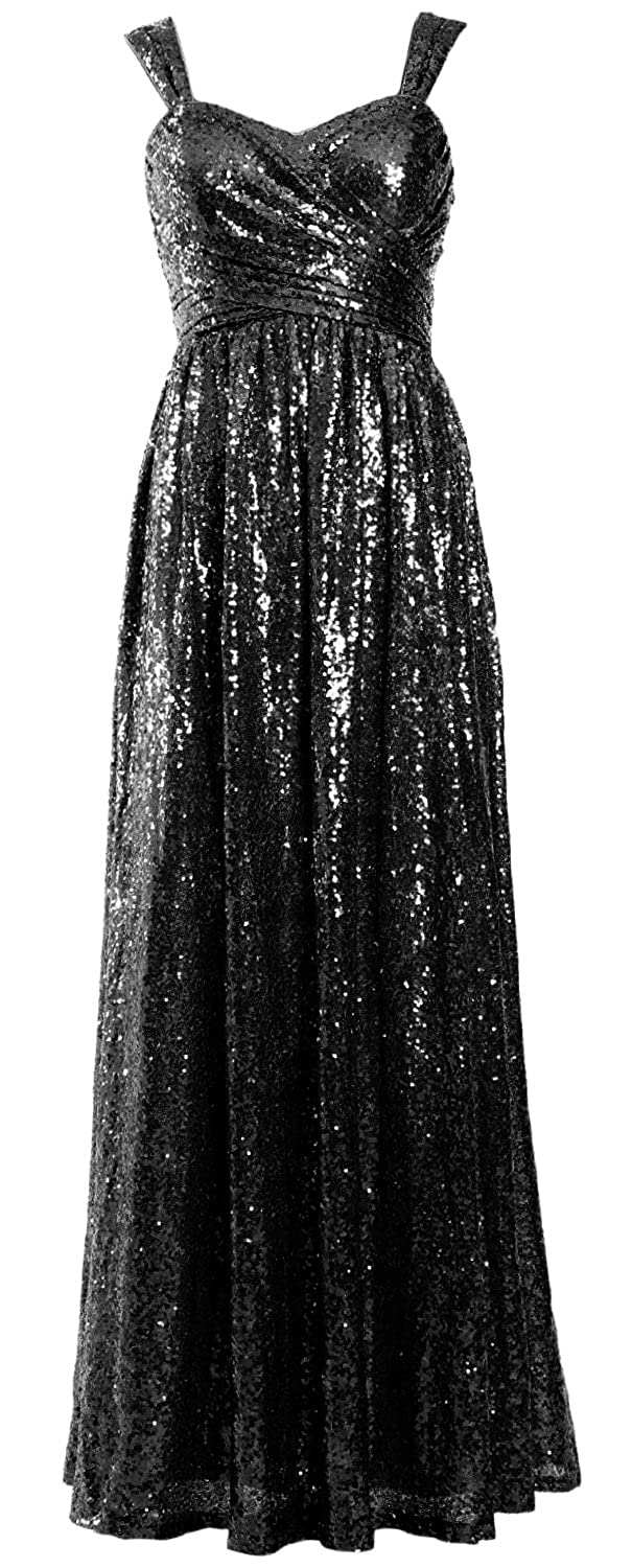 89b5422c888 MACloth Women Sleeveless Formal Party Evening Gown Sequin Long Bridesmaid  Dress at Amazon Women s Clothing store
