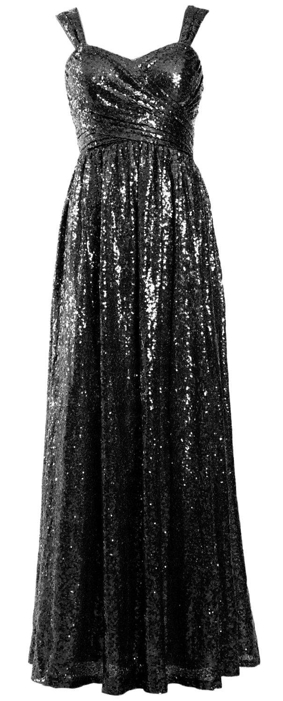 MACloth Women Elegant Sequin Long Bridesmaid Dress Wedding Party Formal Gown (26w, Black) by MACloth