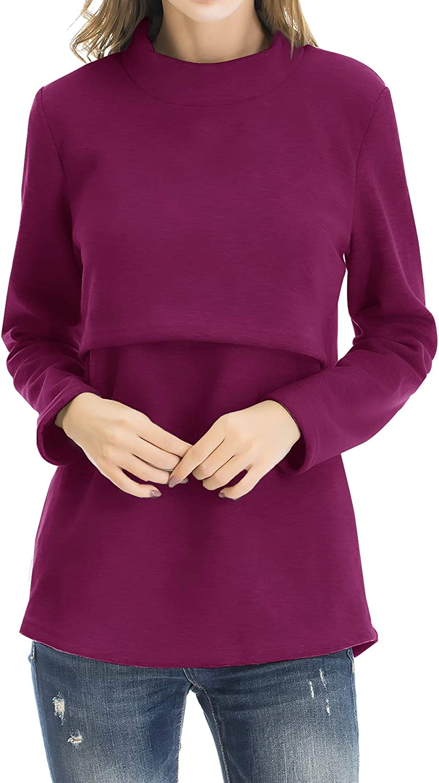 Smallshow Womens Fleece Nursing Tops Shirts Long Sleeve Breastfeeding Clothes