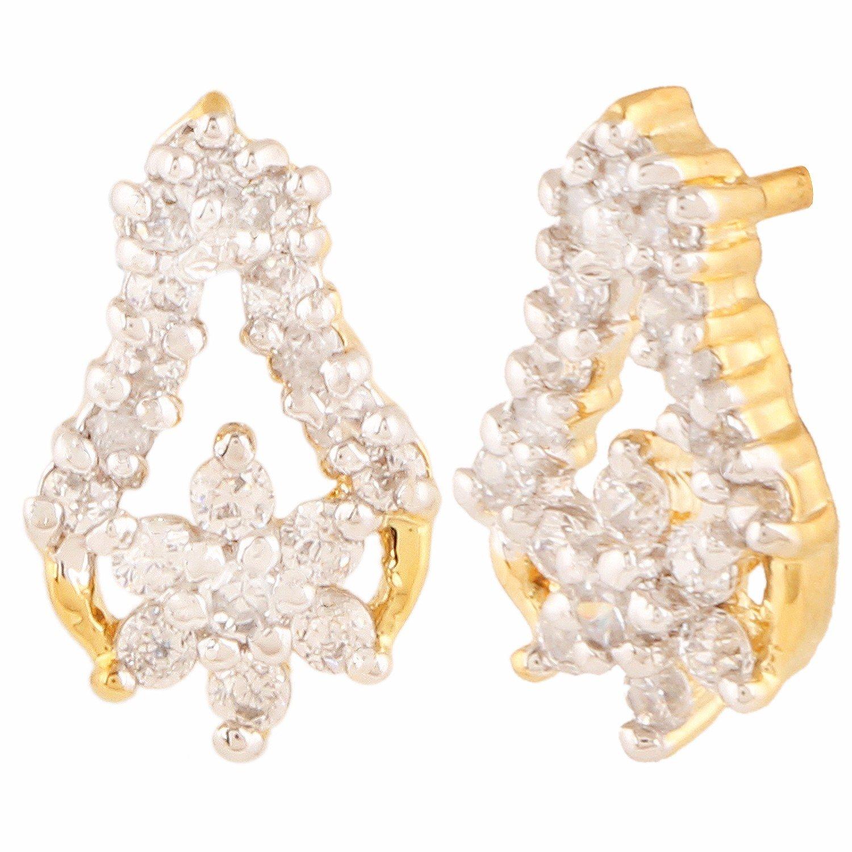 Efulgenz Stud Earrings 14 K Gold Plated Hypoallergenic Cubic Zirconia Studs Pierced