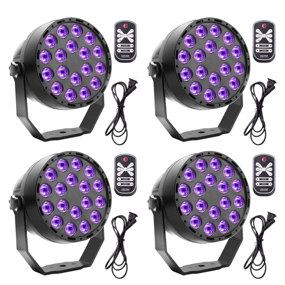 Black Lights U`King 18 x 2W UV LED Blacklight with DMX 512 and Remote Control Glow in The Dark Party Supplies Halloween Wedding Party Stage Lighting by U`King (Image #1)