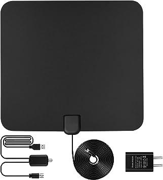 Antena de TV, Novopal Antena Interior HDTV Ultra Plana Antena Interior DVB-T Amplificador de señal USB para reforzar Las Frecuencias UHF VHF y Cable ...