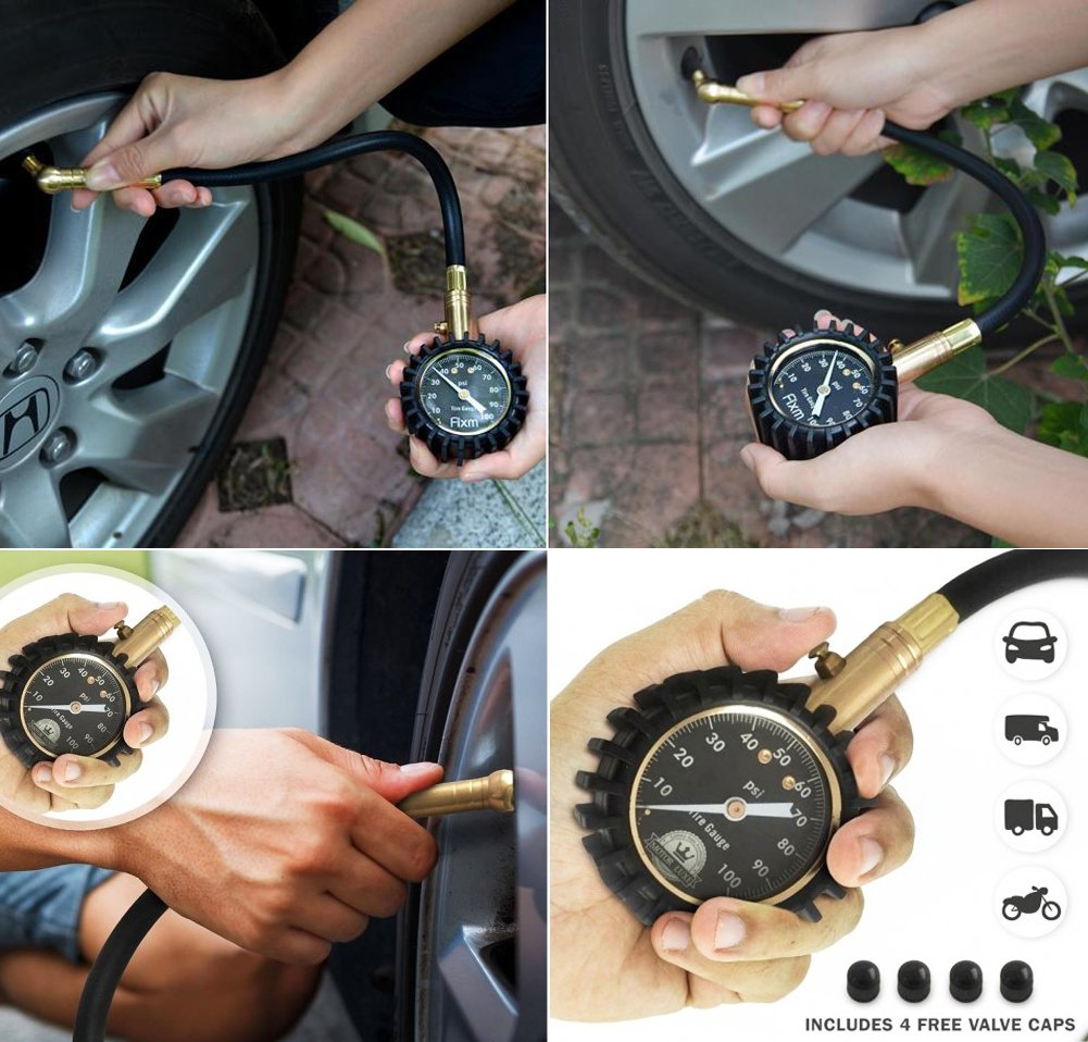 Advgears Tire Pressure Gauge (0-100 PSI)- High Air Pressure guage with Protective Rubber Guard and large 2'' Easy Read Glow Dial, Perfect for Car, Suv, Rv, Atv, Truck, Motorcycle by Advgears (Image #6)