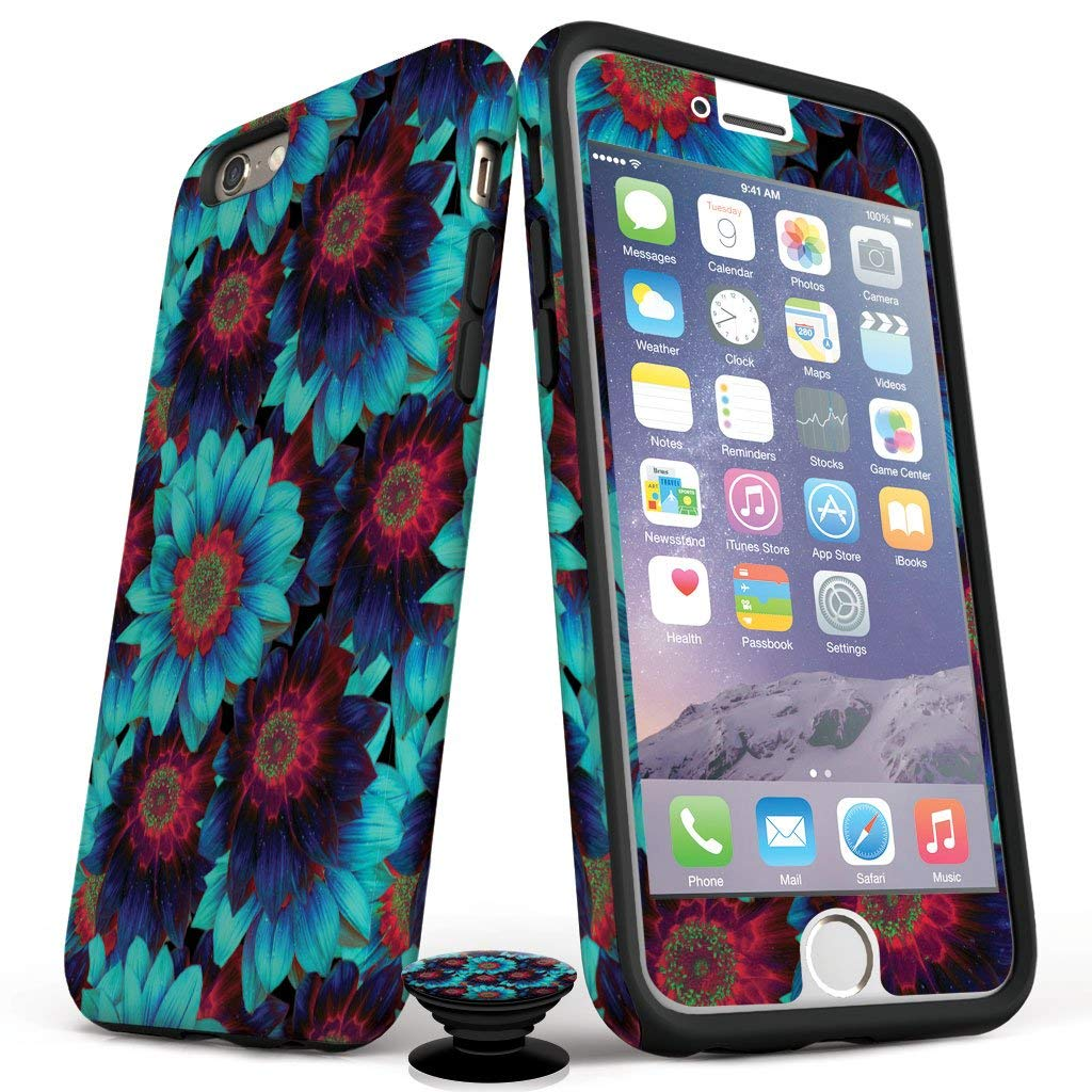 Phone Accessory Bundle for iPhone 7/8 Plus - Screen Protector, Glossy iPhone Case, and Cell Phone Grip with Vivid Bloom Design