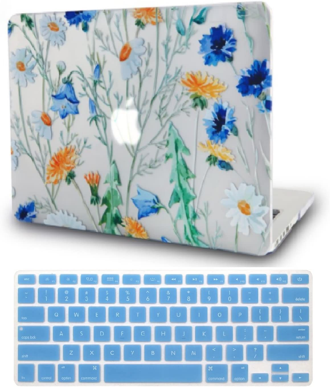 """KECC Laptop Case for MacBook Air 13"""" Retina (2020/2019/2018, Touch ID) w/Keyboard Cover Plastic Hard Shell Case A1932 2 in 1 Bundle (Floral Pattern)"""