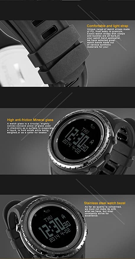 b1984567ff50 Sunroad Reloj 5 ATM impermeable altímetro brújula cronómetro pesca barómetro  podómetro deportes al aire libre reloj