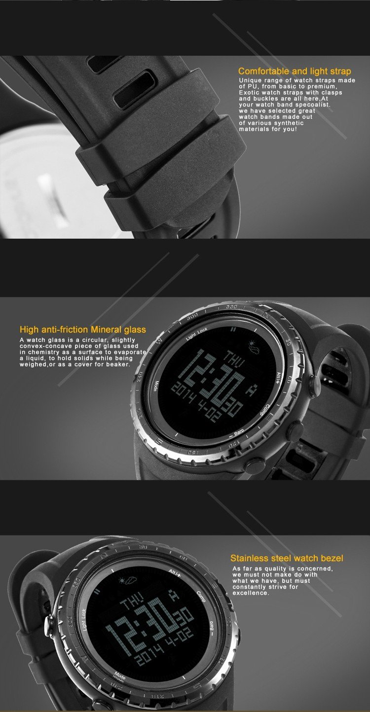 SUNROAD Watch 5ATM Waterproof Altimeter Compass Stopwatch Fishing Barometer Pedometer Outdoor Sport Digital Watch Backlight Men