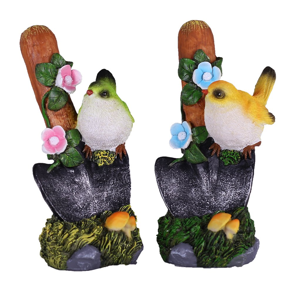 Hannah's Cottage Set of 2 Garden Ornament Resin Waterproof Decorative Robin Bird Statues Sculpture for Outdoor Garden Decoration and Christmas Decor & Gift (Yellow and Green) Hannah's Cottage