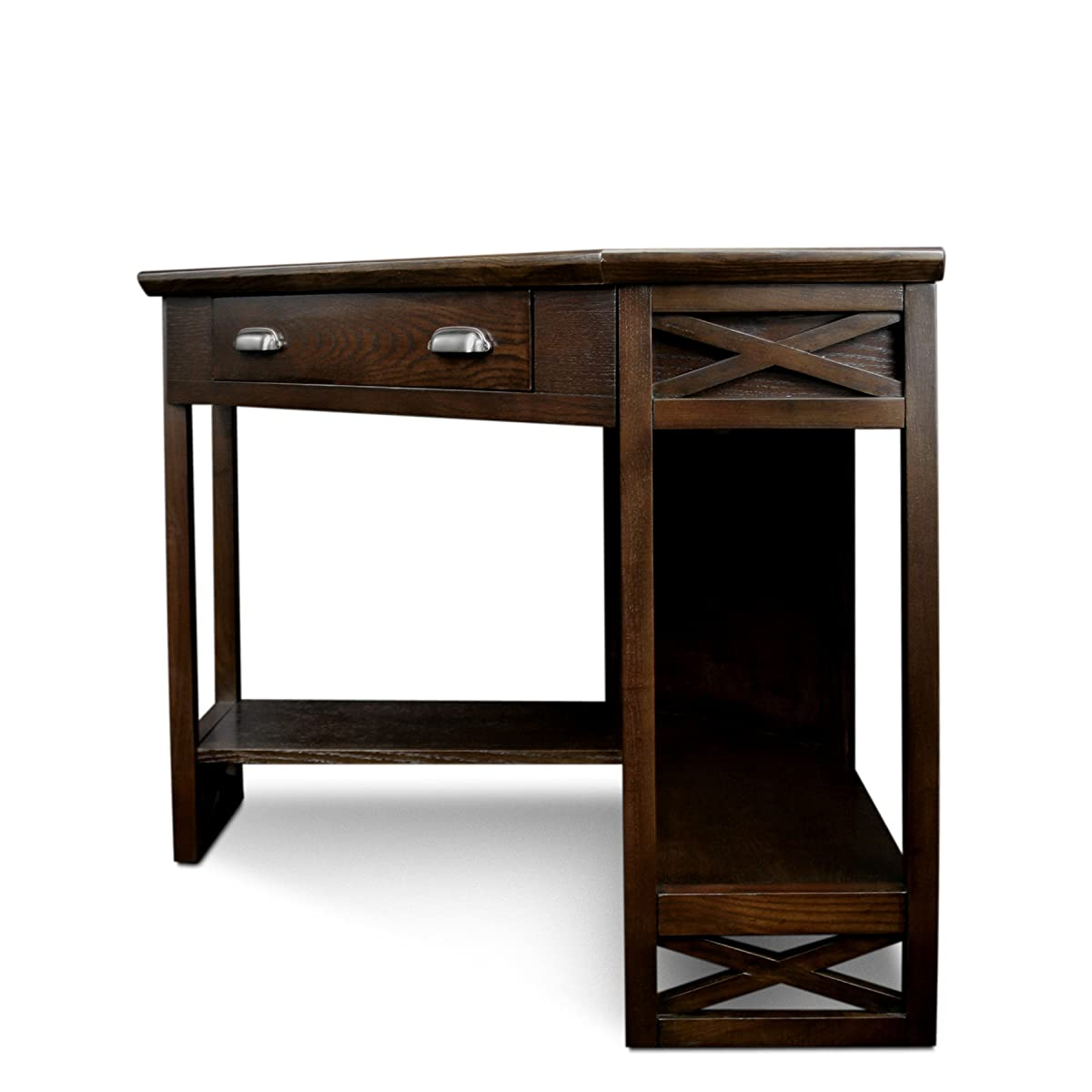 Leick Corner Computer and Writing Desk, Chocolate Oak Finish